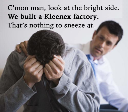 Man consoling friend
