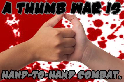 Two hands having a thumb war